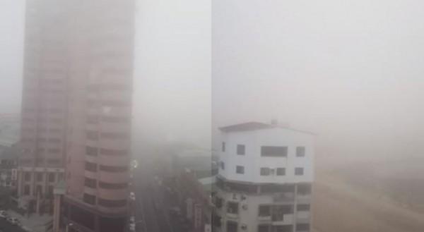 台中霧茫茫影片在網路上引發熱議,網友認為盧秀燕無法有效降低空污。(圖擷取自爆廢公社)