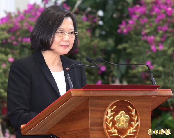 總統蔡英文表示,台灣人民反對一國兩制,這已經是朝野政黨共同立場,這就是西元2019年最重要的台灣共識。(中央社)