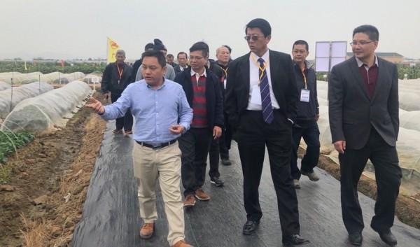 謝龍介(前排中)認為,面對綠營分裂,國民黨也不會太有利。(國民黨南市黨部提供)