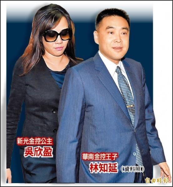 新光金控公主吳欣盈與華南金控王子林知延。(資料照)