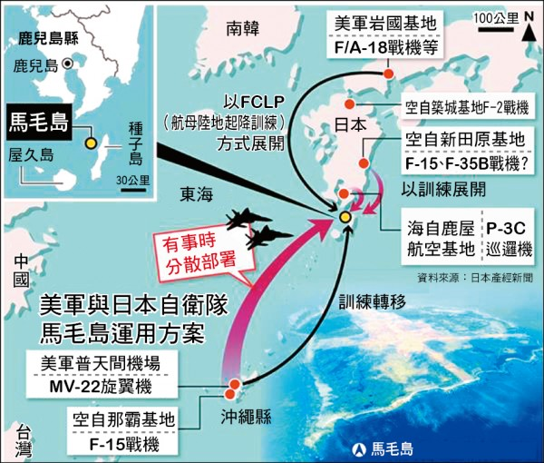 美軍與日本自衛隊馬毛島運用方案(資料來源:日本產經新聞)