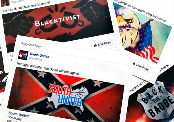 美國研究指出,六十五歲以上的臉書用戶,是最愛分享假新聞的年齡族群。圖為二○一七年十一月一日,臉書上企圖分化美國社會的廣告文章,據信與俄羅斯干預有關。(美聯社檔案照)