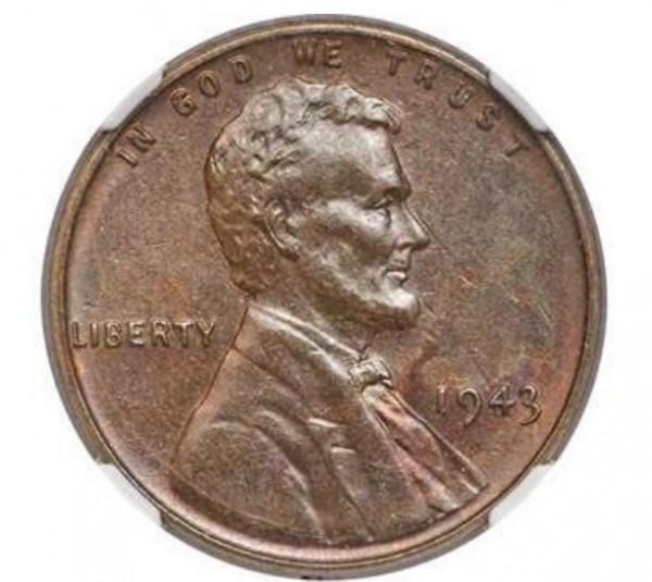 這枚1943年份的林肯1美分硬幣,因為用錯材料鑄造反而顯得相當稀有,日前在拍賣會上以20萬4000美元(約新台幣628萬元)成交。(圖擷自Heritage Auctions拍賣網站)