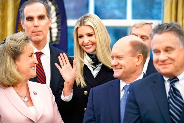 世銀總裁即將出缺,外傳美國總統川普掌上明珠伊凡卡是可能接替人選。圖為她一月九日在白宮橢圓形辦公室出席「反人口販運立法」的簽署儀式。(歐新社)