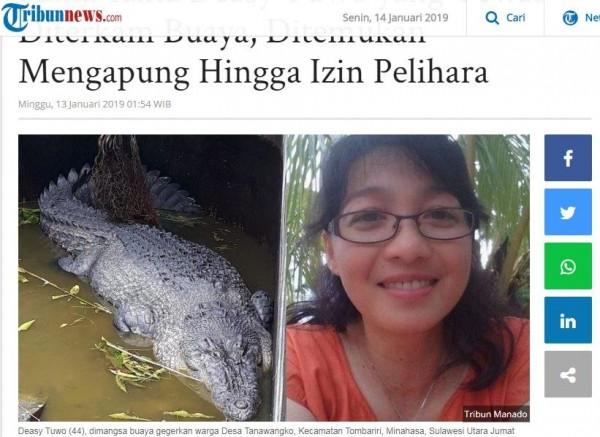 迪希飼養5公尺長的鱷魚多年,日前疑似失足落入水池後,遭鱷魚啃爛身子,死狀淒慘。(圖擷取自Tribun news網站)