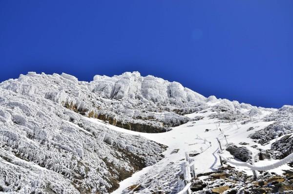 玉山以往在每年十二月或隔年一月上旬就會降下初雪,惟今年受暖冬影響,遲遲不見雪訊。(資料照,玉管處提供)