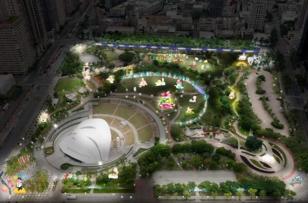 今年中台灣元宵燈會將重返文心森林公園,圖為燈區示意圖。(記者張菁雅翻攝)