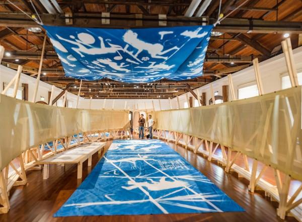 麻豆糖業大地藝術祭以麻豆的糖業歷史為背景創作。(台南市文化局提供)