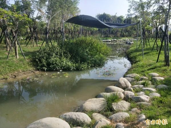 南科管理局打造生態池復育螢火蟲,原希望今年春天螢火蟲能現蹤,但依進度恐怕需再等等。(記者萬于甄攝)