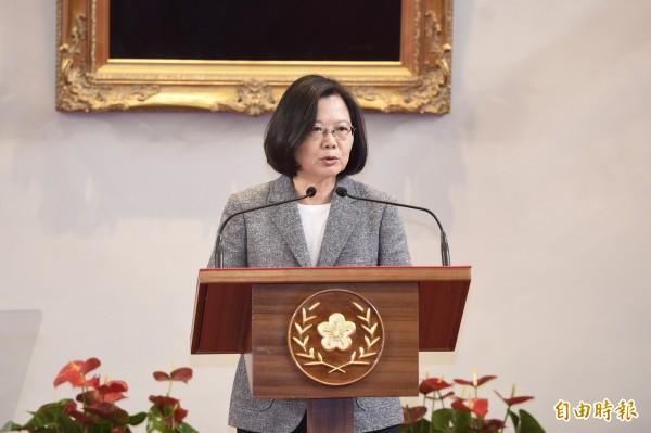 蔡英文總統表示,政府堅定守護中華民國台灣的主權及安全,堅定維護我們民主自由的生活方式,並且堅定的往「壯大台灣」的方向前進。以這三個堅定,我們要在變局中求穩、應變以及進步。(資料照)