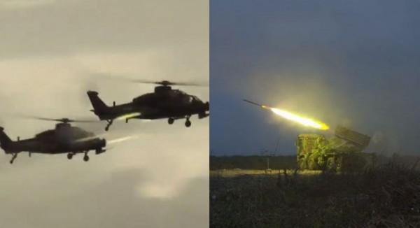 國軍今晨貼出雷霆2000火箭擊發影片(右);中國軍方隨後釋出直升機射擊演練、「祖國必然統一」影片(左)。(左圖取自中國人民陸軍抖音,右圖取自國防部發言人臉書)