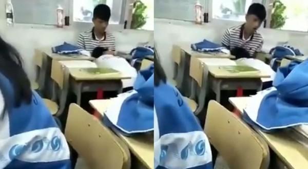 中國高中小情侶下課時間口交被拍下PO網引發網友熱議。(圖擷取自影片)