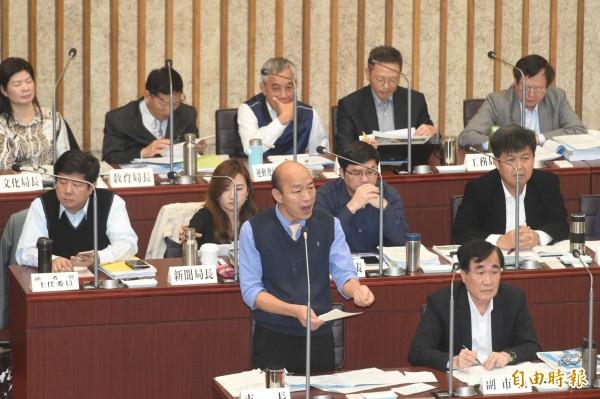 韓國瑜接連2天到高雄市議會接受備詢。(資料照,記者張忠義攝)