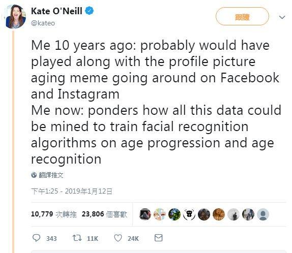 國外科技業評論者凱莉·歐尼爾(Kate O'Neill)表示 「10年前的我;可能會跟風在臉書或Ig發文;現在的我:思考如何透過這股風潮,來研究如何訓練『臉部識別演算法』辨別長相演變與長相年齡」。(圖擷取自twitter)