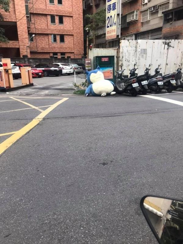 卡比獸玩偶慘遭回收,躺在路邊的模樣讓民眾感到新奇。(圖擷取自爆廢公社)