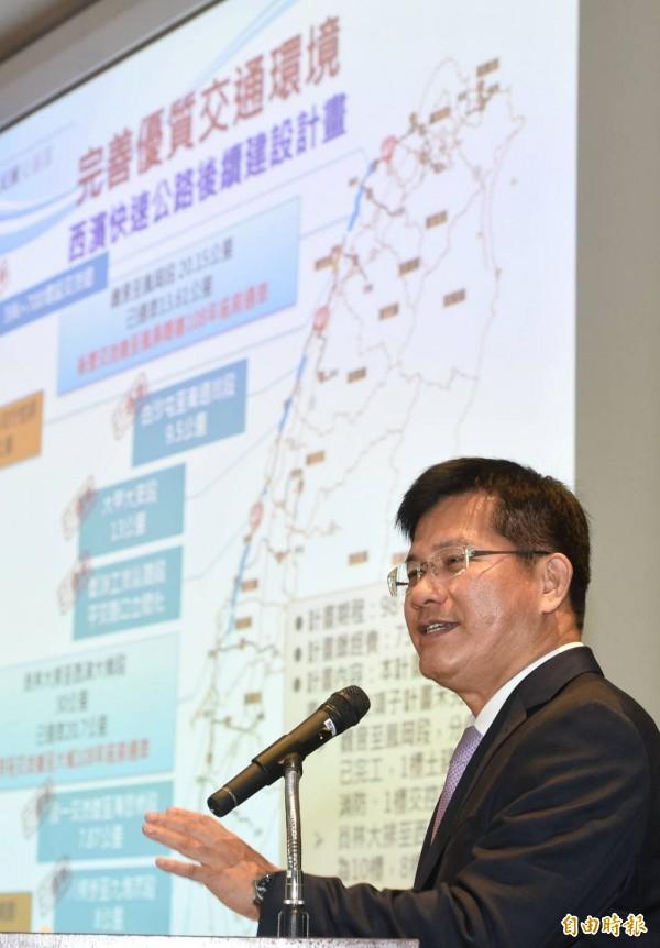 交通部長林佳龍主持交通部新春記者會,說明交通部未來一年業務重點展望。(記者劉信德攝)