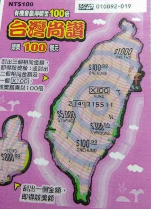 民眾購買100元刮刮樂,幸運中獎1萬元,需扣除2040元稅金。(圖擷取自爆廢公社)