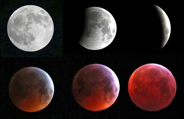 圖為在比利時布魯塞爾捕捉到的「超級血狼月」全過程。(路透)