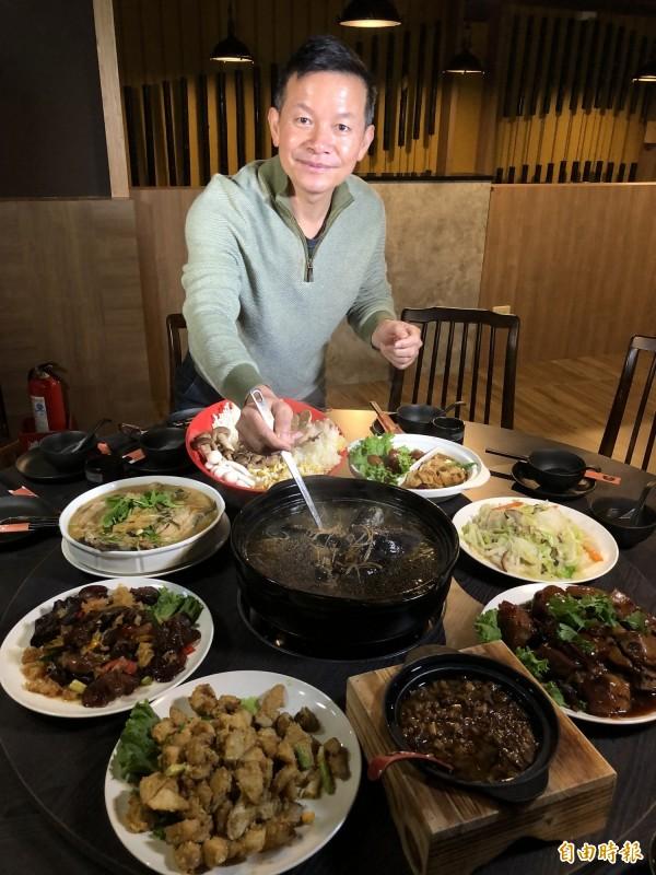 菇神推出八菜一湯的「菇香宴」桌菜料理,適合過年圍爐。(記者歐素美攝)
