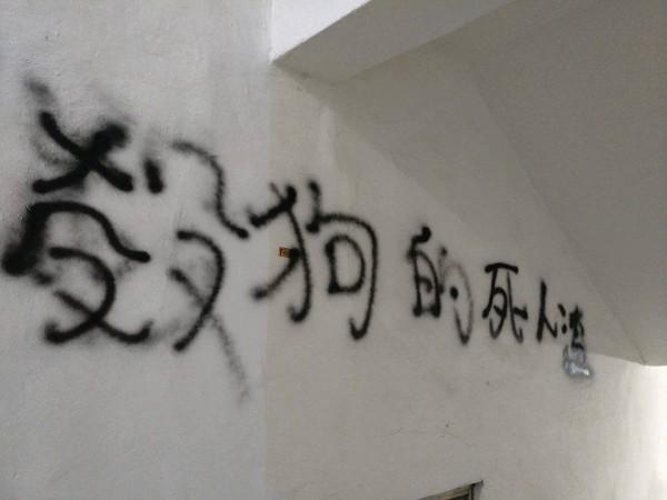 有民眾不滿陳姓飼主放任比特犬咬死流浪狗,憤而到陳男住家的樓梯間噴漆。(圖擷取自臉書粉絲專頁基隆人踹共)