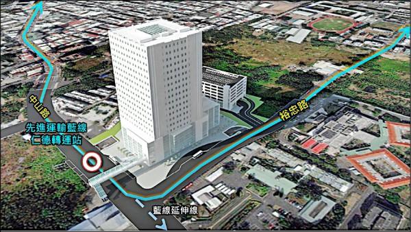 仁德綜合轉運站BOT開發案,昨日舉行招商說明會。圖為完工模擬圖。(台南市政府提供)