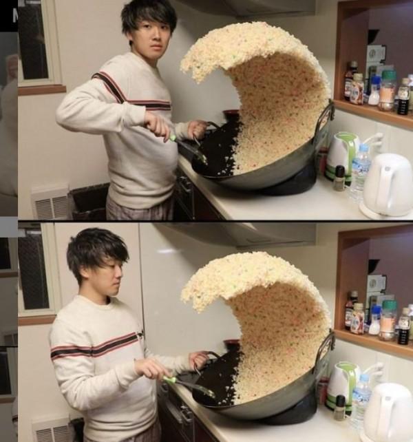 一張日本網友讓炒飯翻到空中的照片,在外國論壇引發熱議。(圖擷自IG)