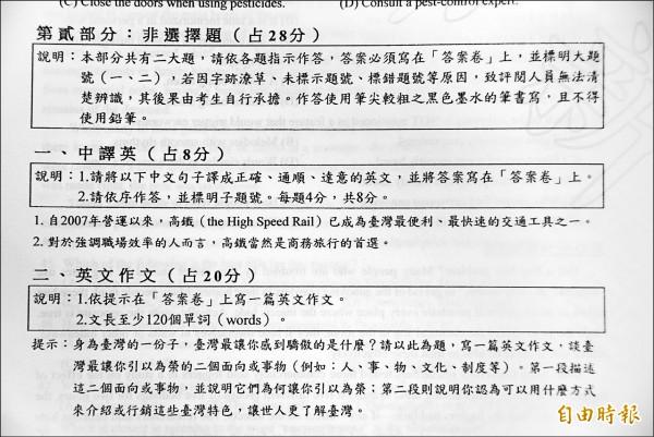 學測英文科的非選擇題偏重日常生活,作文考「台灣最讓你感到驕傲的是什麼?」要介紹與行銷台灣特色。(記者吳柏軒攝)