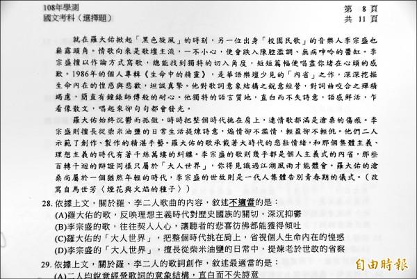 歌手羅大佑、李宗盛等人在校園民歌時期傳唱故事,也成了今年學測國文題材。 (記者吳柏軒攝)