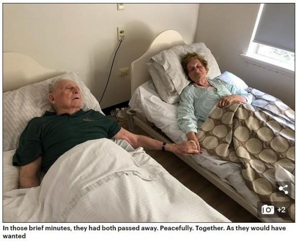 澳洲1對夫婦結婚70年,本月初在療養院同天手牽手自然離世,連醫生都無法判定誰先去世。(圖擷取自《每日郵報》)