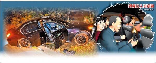 呂男開車時遭槍擊當場昏迷,車輛撞上對向護欄,。 (記者曾健銘翻攝)