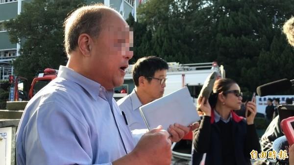 遠化林姓經理代表公司對外說明事發原因和經過。(記者黃美珠攝)