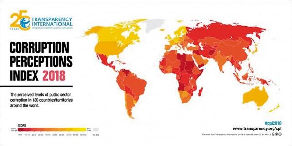 國際透明組織廿九日公布二○一八年全球清廉印象指數。(取自網路)