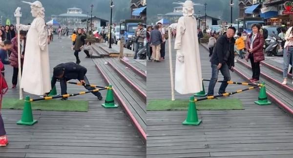 男子偷拍街頭藝人裙底,被民眾肉搜出臉書砲轟。(圖擷取自爆料公社)