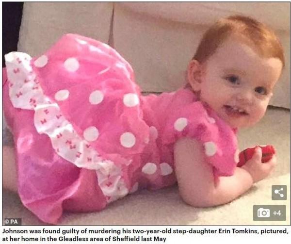 不到2歲的湯姆金斯(Erin Tomkins,見圖)遭繼父虐待致死。(圖擷取自《每日郵報》)