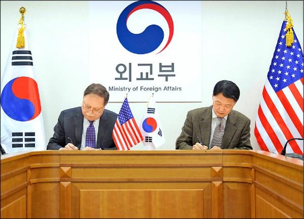 美國國務院代理副助理國務卿貝茲(左)與南韓的美韓經費分攤談判特使張元三,十日在首爾的南韓外交部簽署新版「特別措施協定」,敲定韓方分擔駐韓美軍所需開銷的新比例,但有效期僅一年。(美聯社)