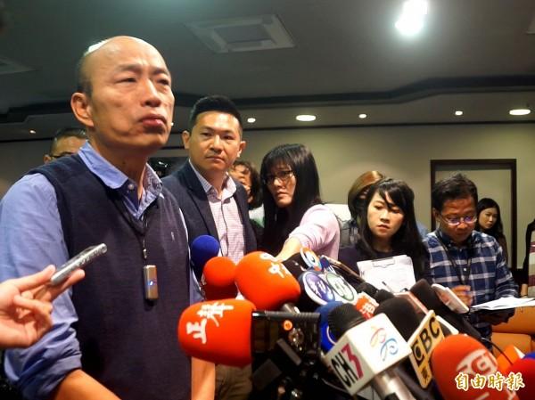 訪馬計畫生變,韓國瑜拜托市府員工不要隨便洩密。(記者黃佳琳攝)