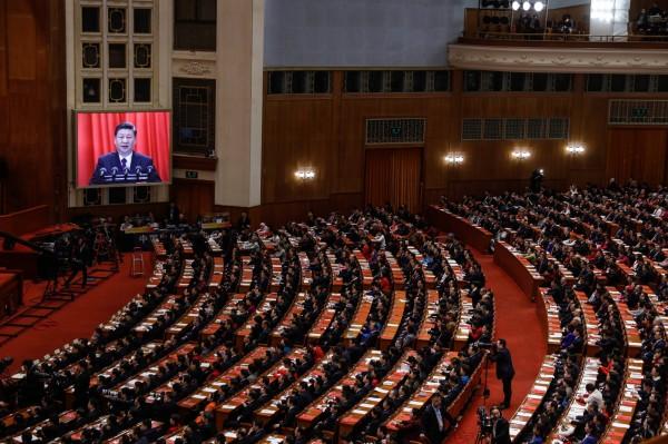 中國政府一年一度的全國人民代表大會及全國政治協商會議(簡稱兩會)將在今年3月初登場,今年也傳出中國當局意圖將《國家統一法》立法的傳聞,不過有台商認為機率不大。圖為2018年的兩會現場。(歐新社)