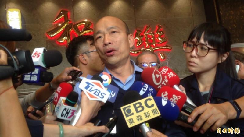 韓國瑜抨擊蔡總統不推動台獨。(記者黃旭磊攝)