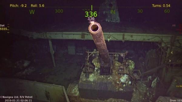 美國傳奇航母「大黃蜂號」的殘骸日前已被尋獲。圖為大黃蜂號艦上所搭載的5吋火砲。(圖擷取自Paul G. Allen's Vulcan)