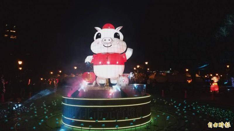 情人節夜晚,竹北市「樂活滿竹 豬事吉」元宵燈會含基座約4.5公尺高的福氣豬花燈,在文化公園浪漫點燈。(記者廖雪茹攝)