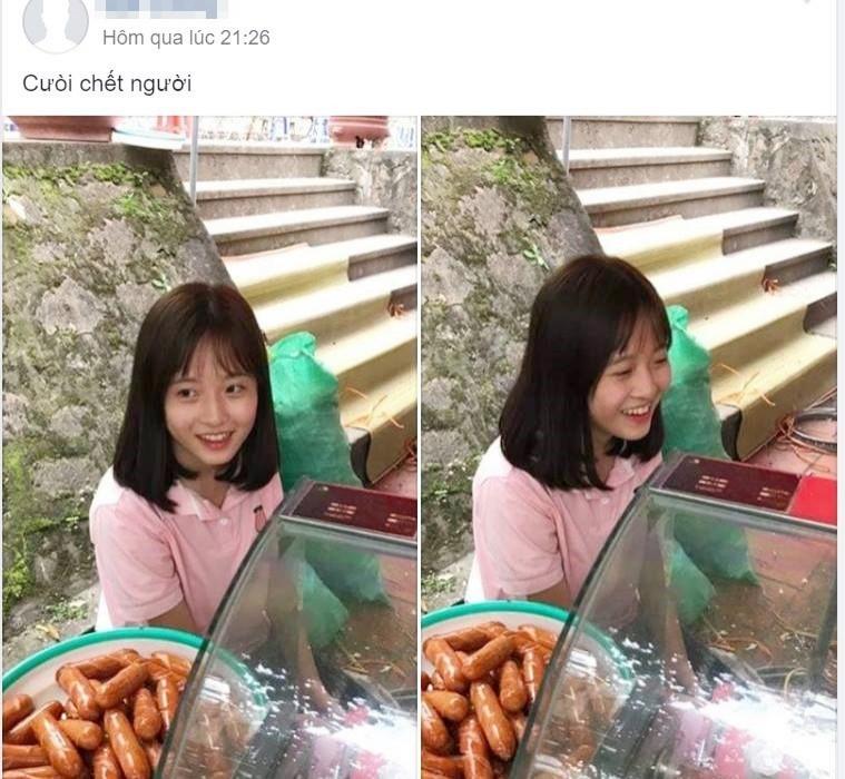 Lê Như Quỳnh到姊姊的香腸攤幫忙,被路人拍下分享到網路上爆紅,網友直呼好可愛!(圖擷取自soha.vn)