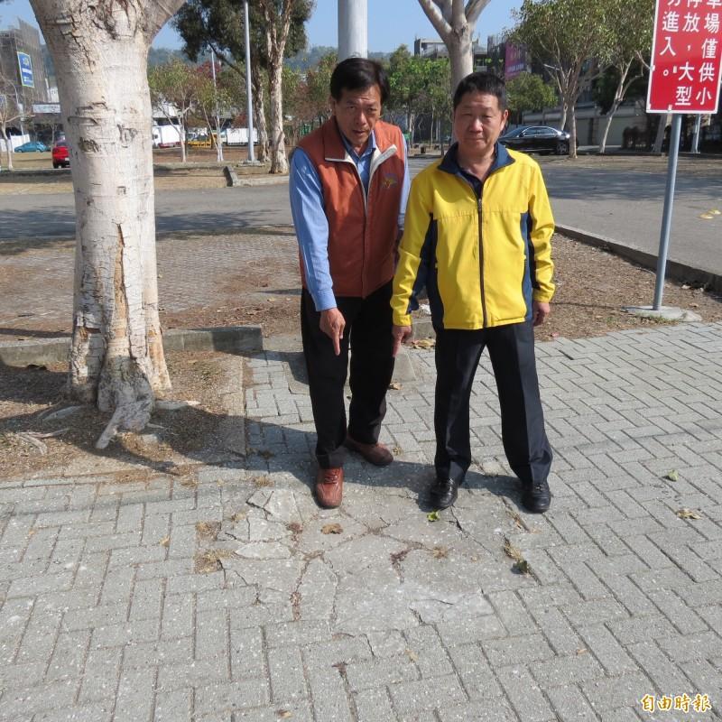 烏日廣停六停車場旁的人行道有凹凸不平,很多住戶不小心絆倒受傷。(記者蘇金鳳攝)