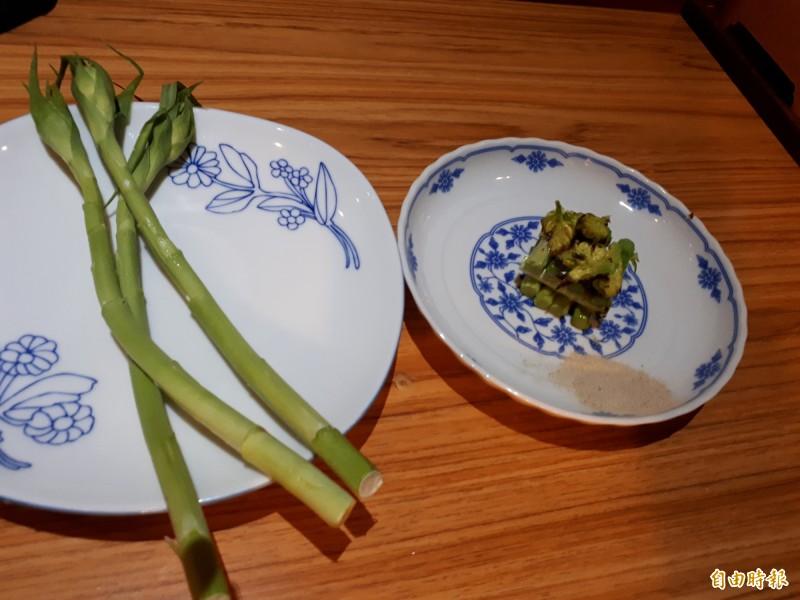 夜來香烤時蔬,讓人吃得到野蔬的清爽口感。(記者洪美秀攝)