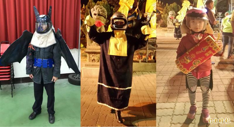 「蝙炮蝠裝」(左)勇奪學生組第一名,「蜂芒萬丈」(中)在社會組封王,小朋友(右)也參賽。(記者楊金城攝及翻攝)
