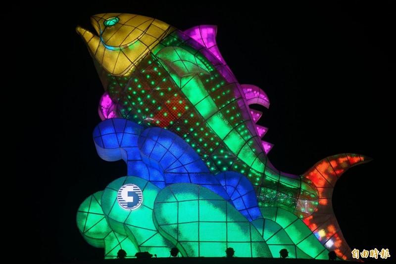 台灣燈會主燈「巨鮪來富」。(記者陳彥廷攝)