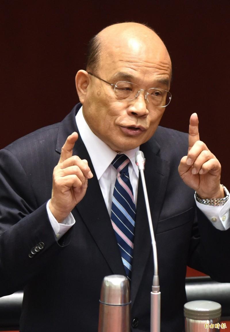 行政院長蘇貞昌(見圖)今天下午在立法院院會備詢時表示,全世界對台灣最不友善的就是中國、和平協議一點都不和平,這協議根本不能簽。(記者王藝菘攝)