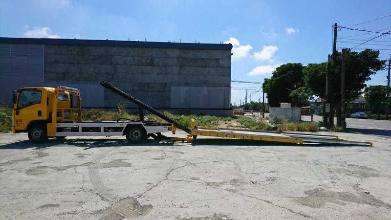 全落斗式拖救車,可拖救底盤較低的超跑。(圖:高公局提供)