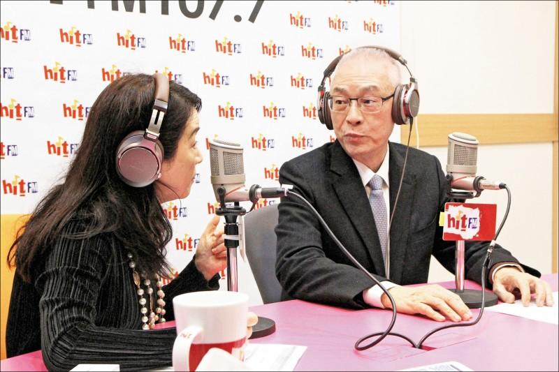 國民黨主席吳敦義昨天接受廣播專訪,對於總統提名是否徵召高雄市長韓國瑜,他表示不能完全排除可能性。(Hit Fm提供)