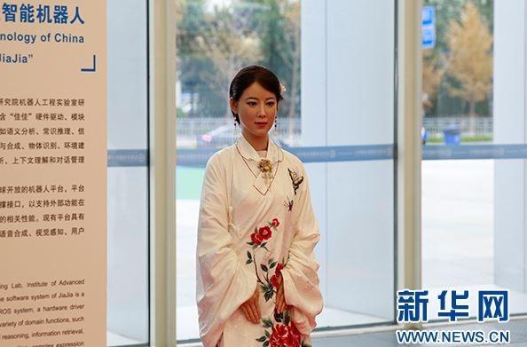 圖為中國美女機器人佳佳。(圖擷自新華網)