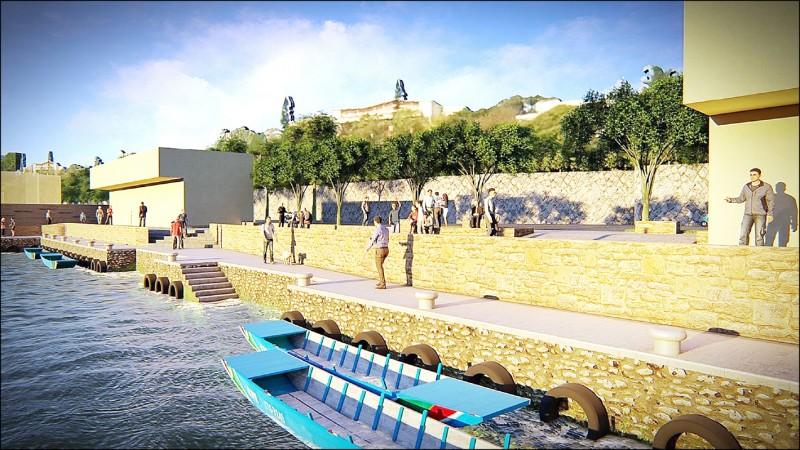 淡水第一漁港東堤的漁作及水岸步道空間的完工示意圖。(記者陳心瑜翻攝)